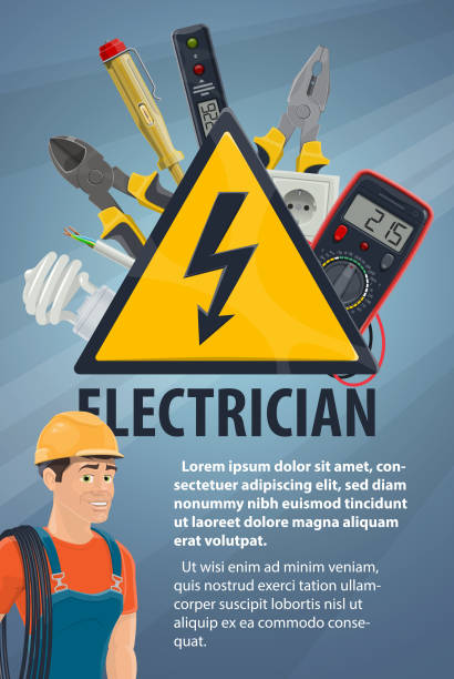 Electrician with electrical equipment, tool banner Electrician with electrical equipment and work tool banner. Electrician or lineman in hard hat with wire, screwdriver and light bulb, pliers socket and warning sign, multimeter and voltage tester football lineman stock illustrations