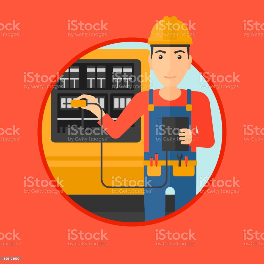 Electrician with electrical equipment vector art illustration