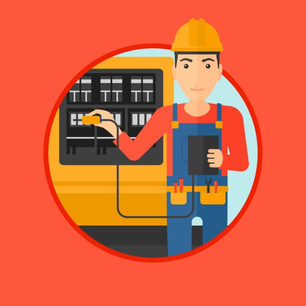 Electricista con equipos eléctricos - ilustración de arte vectorial