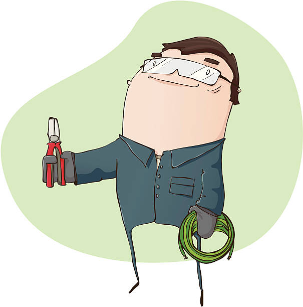 Electrician with Pliers and Wire vector art illustration