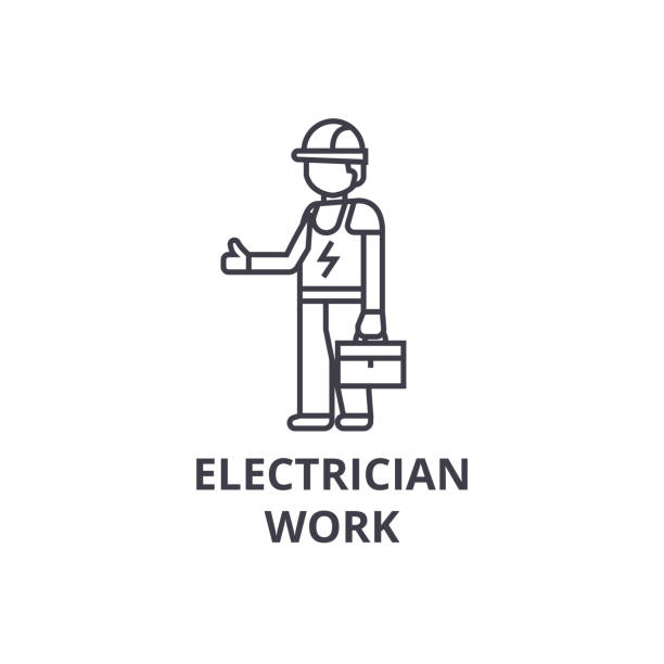 Best Electrician Working Illustrations, Royalty-Free