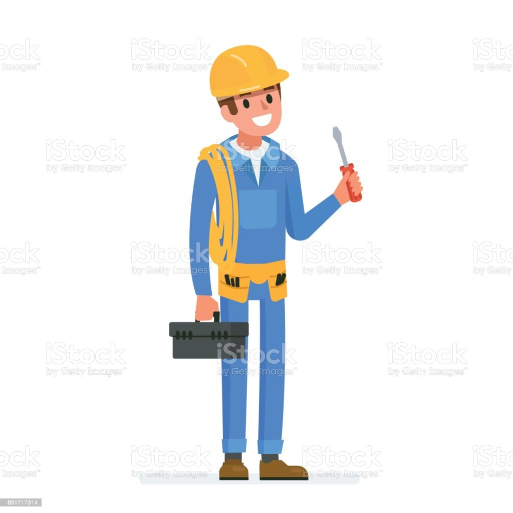 electrician worker vector art illustration