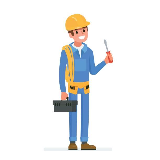 ilustrações, clipart, desenhos animados e ícones de eletricista assistente - eletricista
