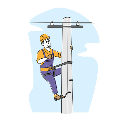 Electrician Worker with Tools and Equipment Climbing on Electric Transmission Tower for Maintenance. Energy Station