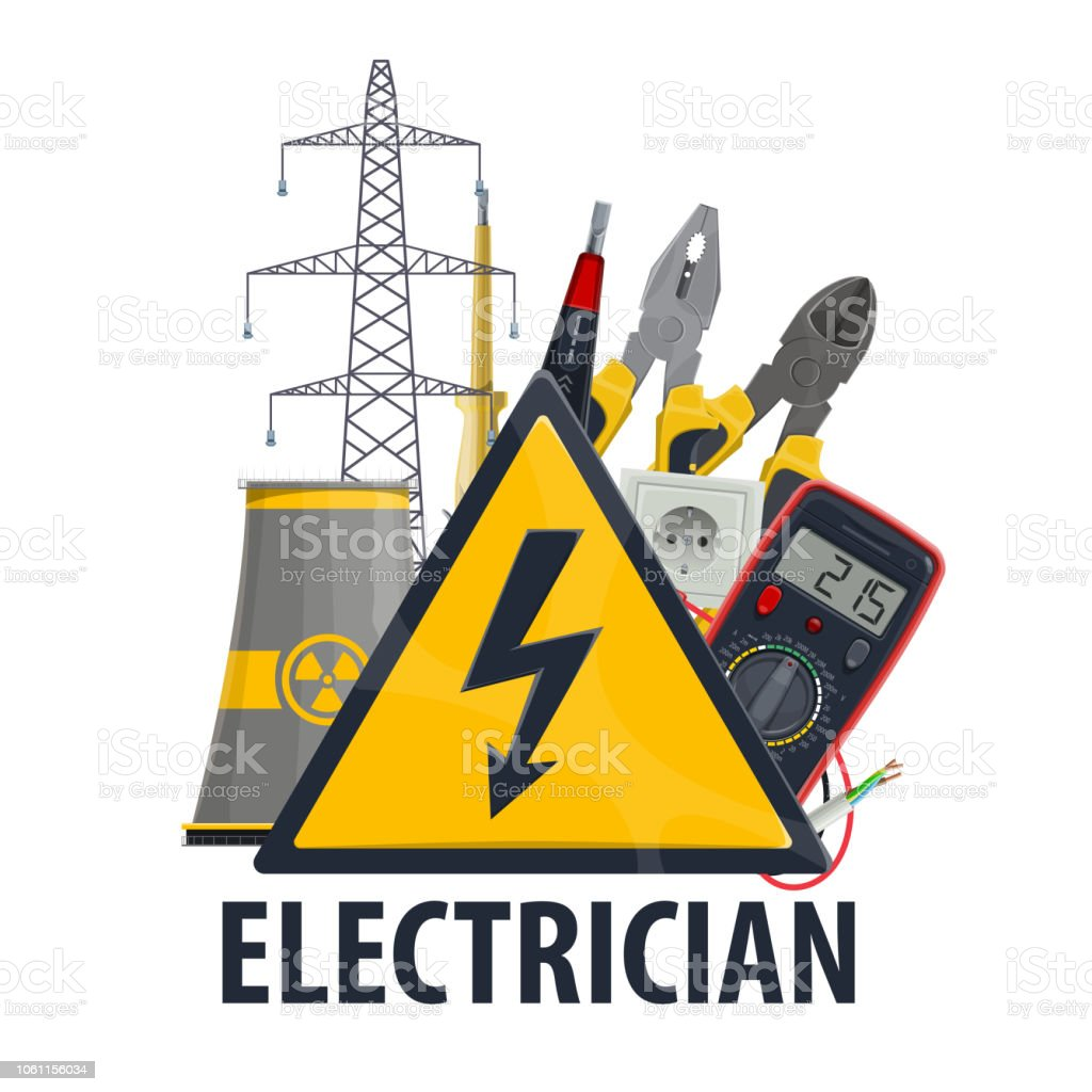 Electricity and electric engineering, vector tools vector art illustration