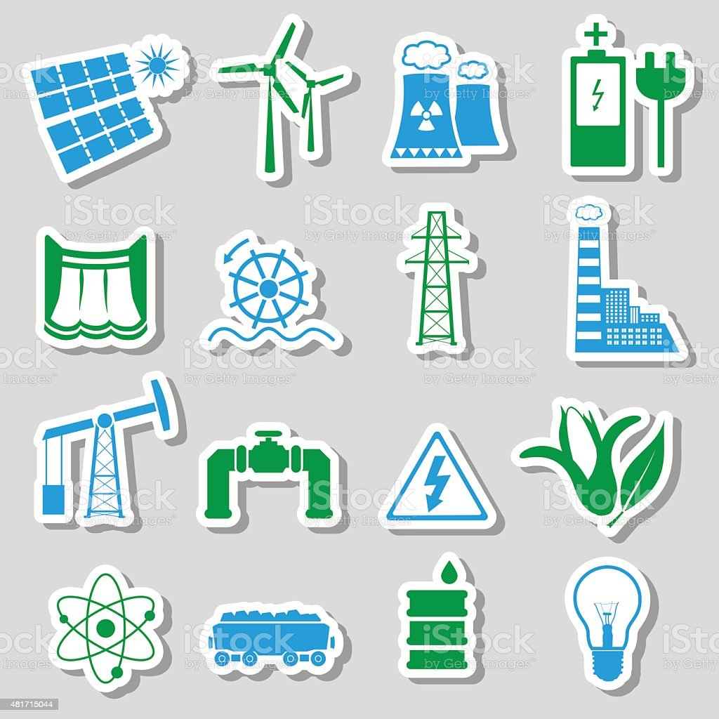 electricity and enegry symbol color stickers set eps10 vector art illustration