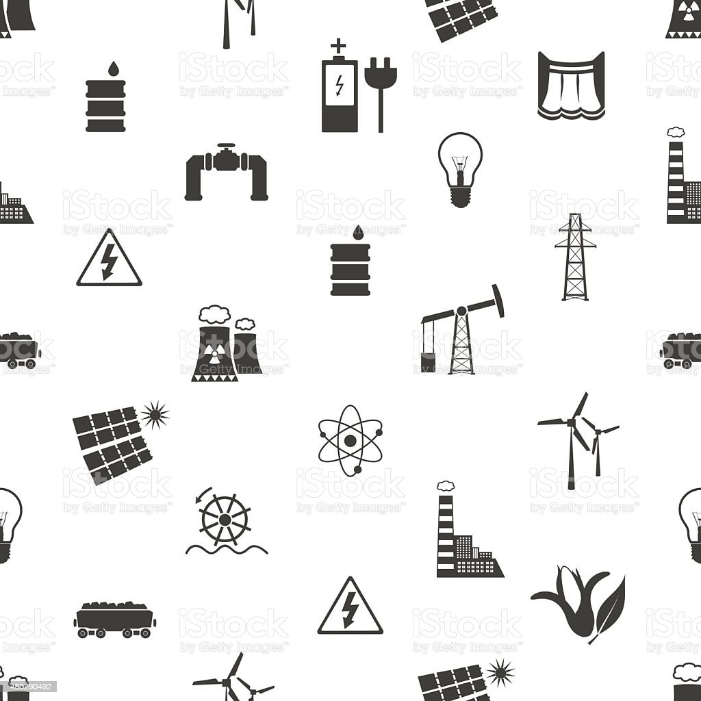 electricity and energy icons and symbol seamless pattern eps10 vector art illustration