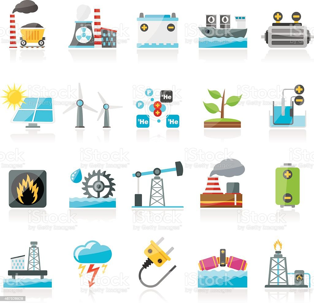 Electricity and Energy source icons vector art illustration