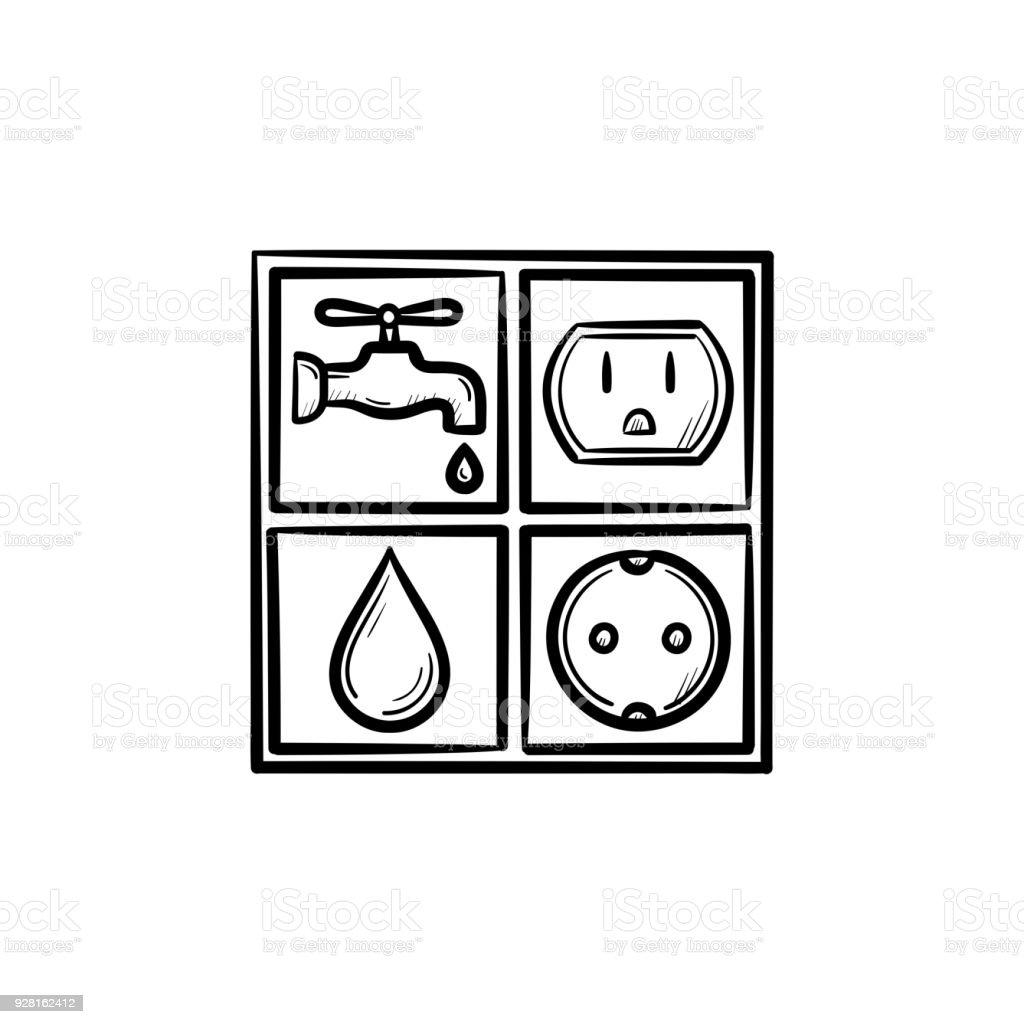 Strom Und Wasser Zeichen Gezeichnete Skizze Handsymbol Stock Vektor ...