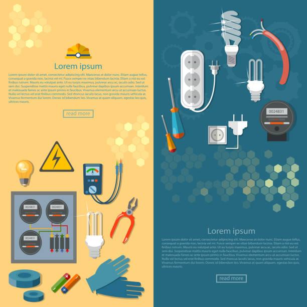 ilustraciones, imágenes clip art, dibujos animados e iconos de stock de electricidad banners de herramientas de electricista - amperímetro