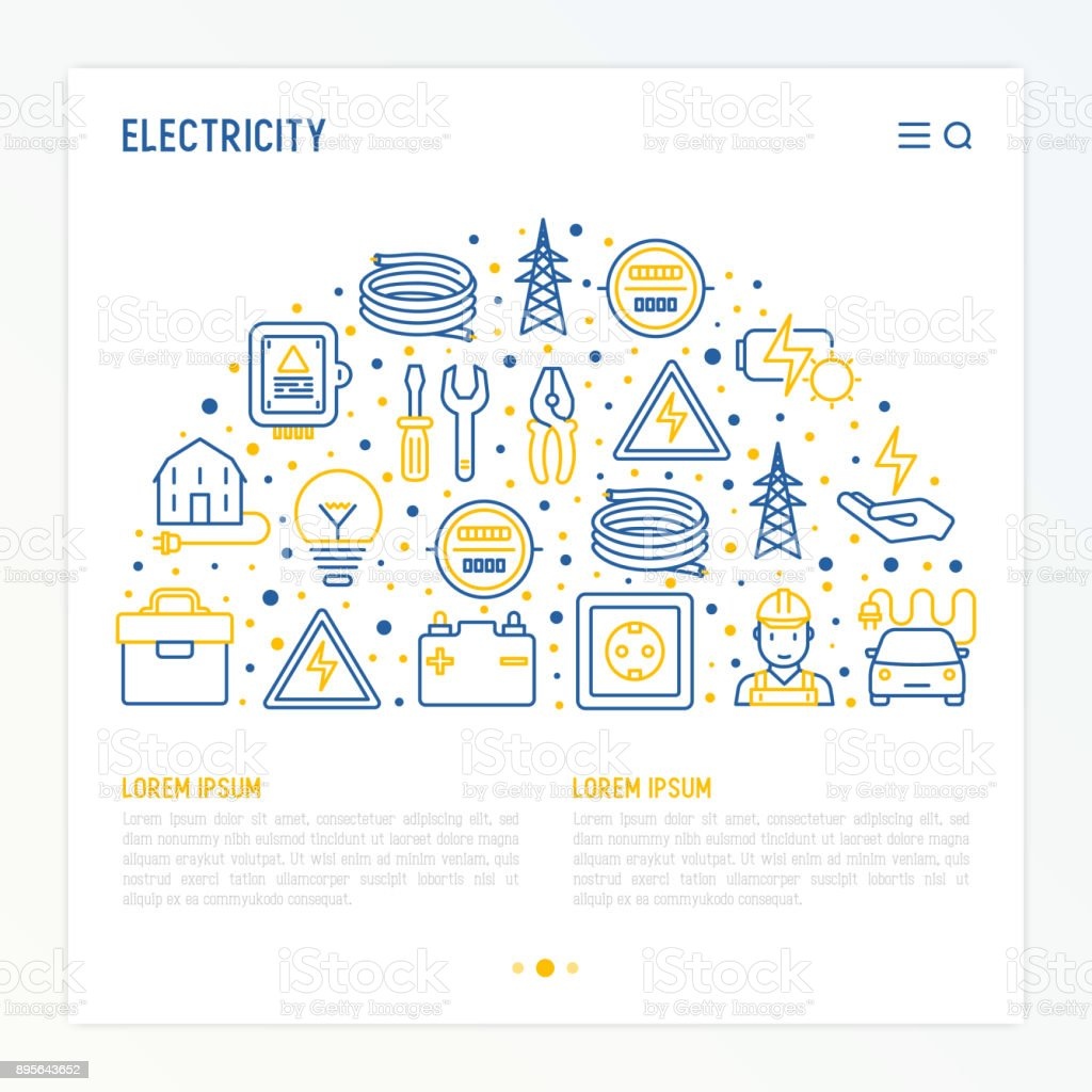 Electricity concept in half circle with thin line icons: electrician, bulb, pylon, toolbox, cable, electric car, hand, solar battery. Vector illustration for banner, web page, print media. vector art illustration