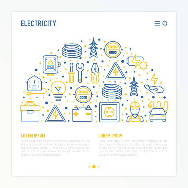 Electricity concept in half circle with thin line icons: electrician, bulb, pylon, toolbox, cable, electric car, hand, solar battery. Vector illustration for banner, web page, print media. Electricity concept in half circle with thin line icons: electrician, bulb, pylon, toolbox, cable, electric car, hand, solar battery. Vector illustration for banner, web page, print media. alternative fuel vehicle stock illustrations