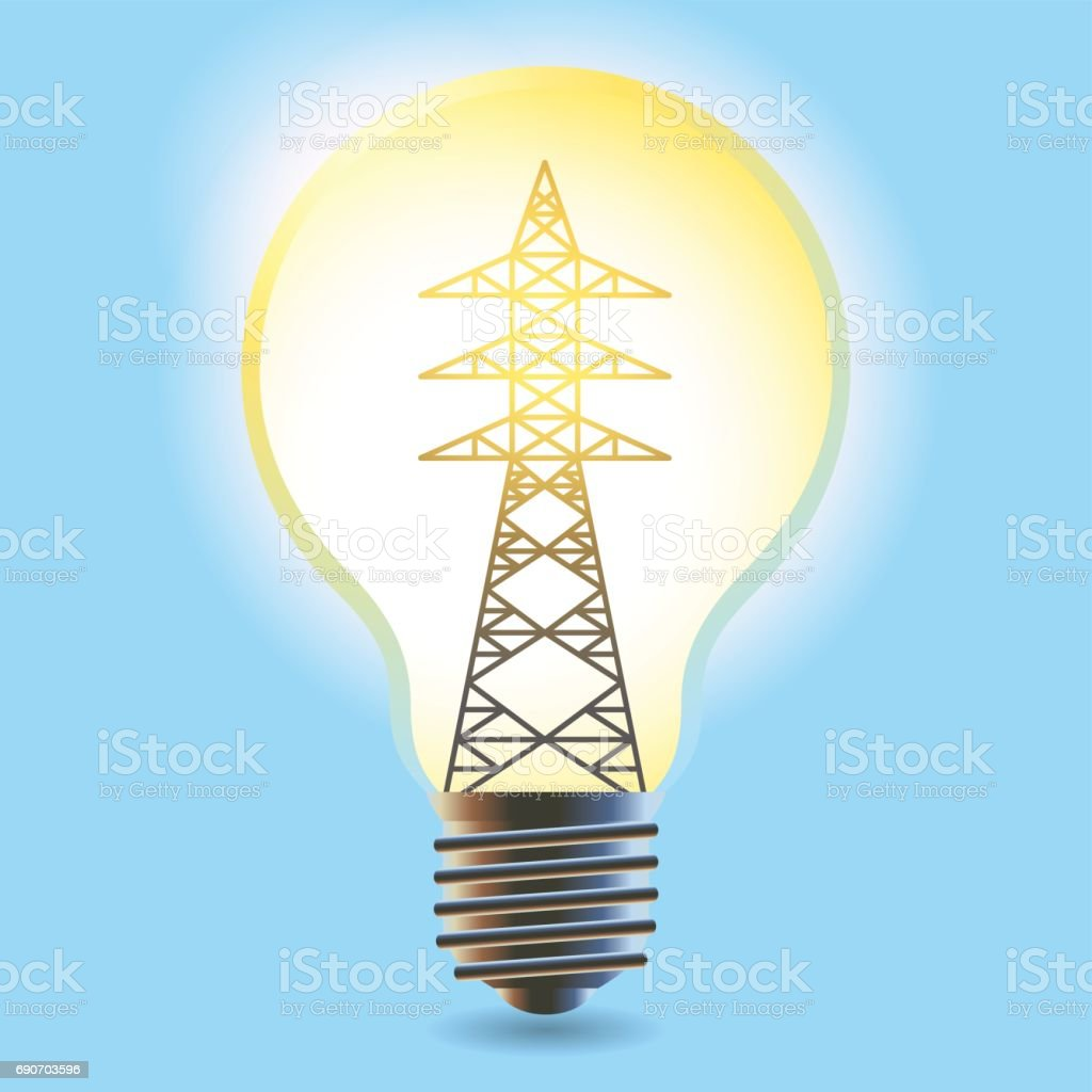 Electricity Concept Power Transmission Tower In Electric Light Bulb ...