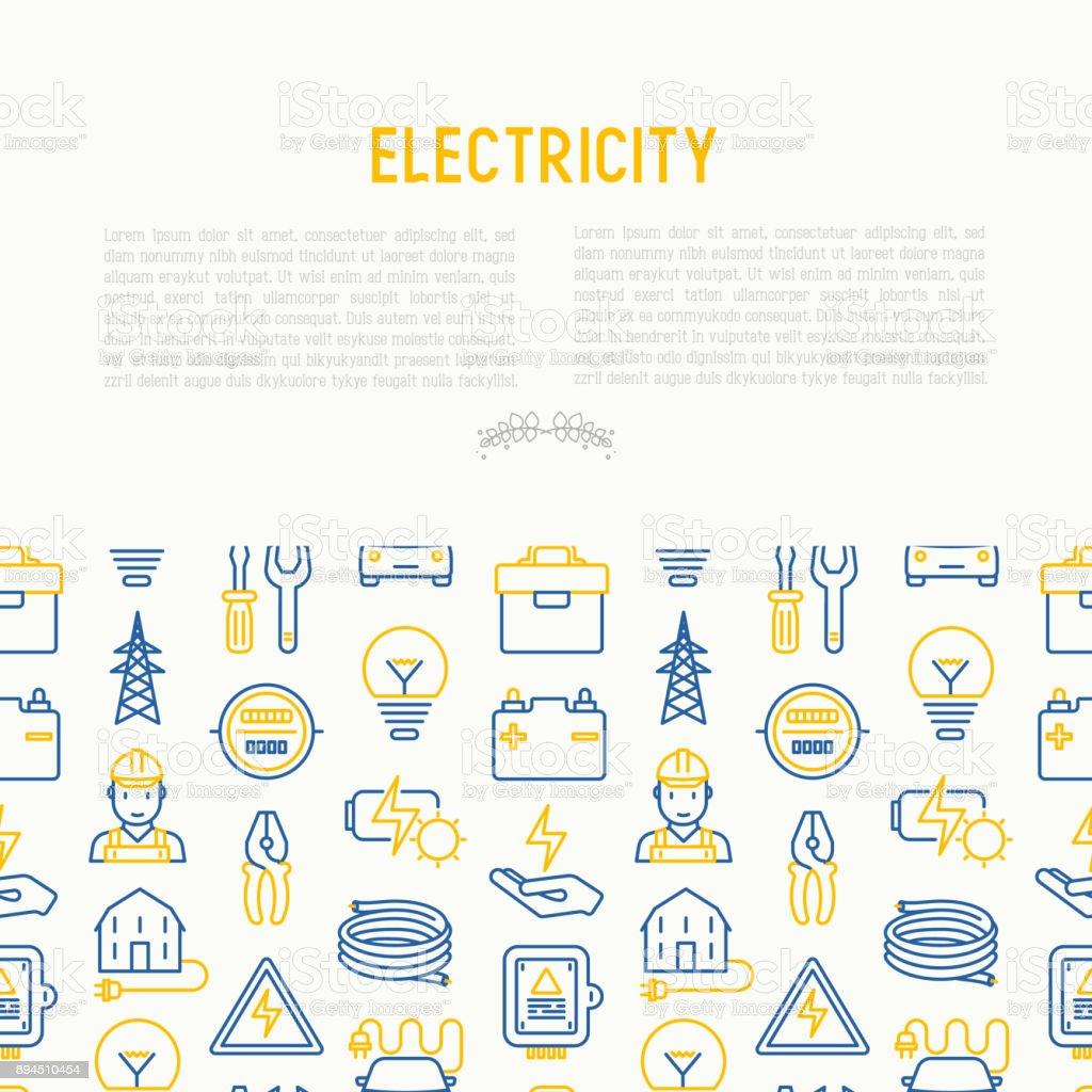 Elektriciteit Concept Met Dunne Lijn Pictogrammen Elektricien Lamp