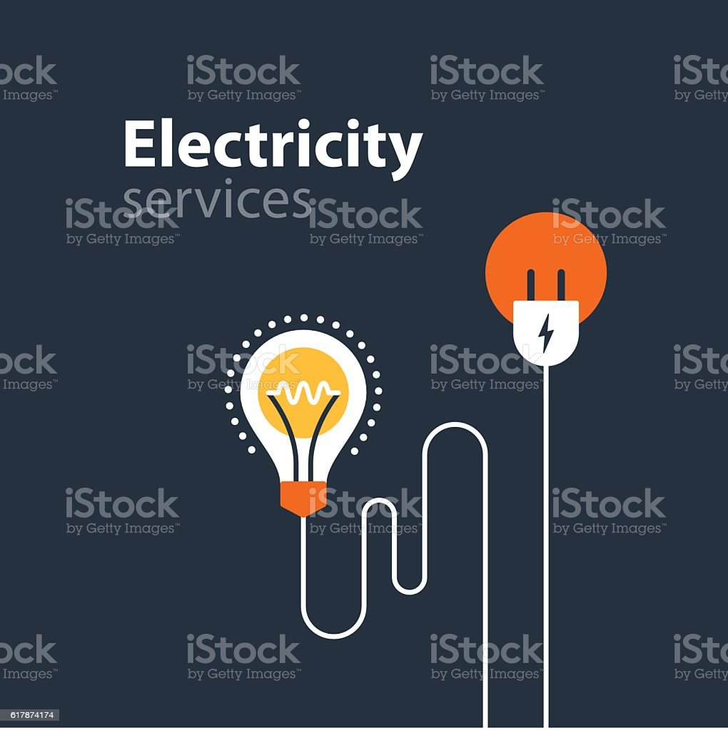 Electricity connection, electrical services and supply, energy saving vector art illustration