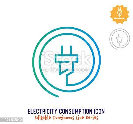 istock Electricity Consumption Continuous Line Editable Stroke Line 1251102640