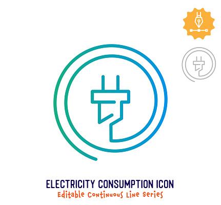 Electricity Consumption Continuous Line Editable Stroke Line