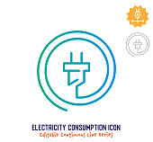 istock Electricity Consumption Continuous Line Editable Stroke Line 1251102640