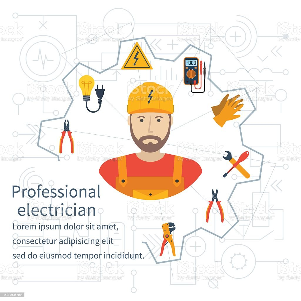 Electricity design concept. Professional electrician. vector art illustration