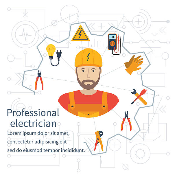 ilustrações, clipart, desenhos animados e ícones de conceito de projeto de electricidade. eletricista profissional. - eletricista