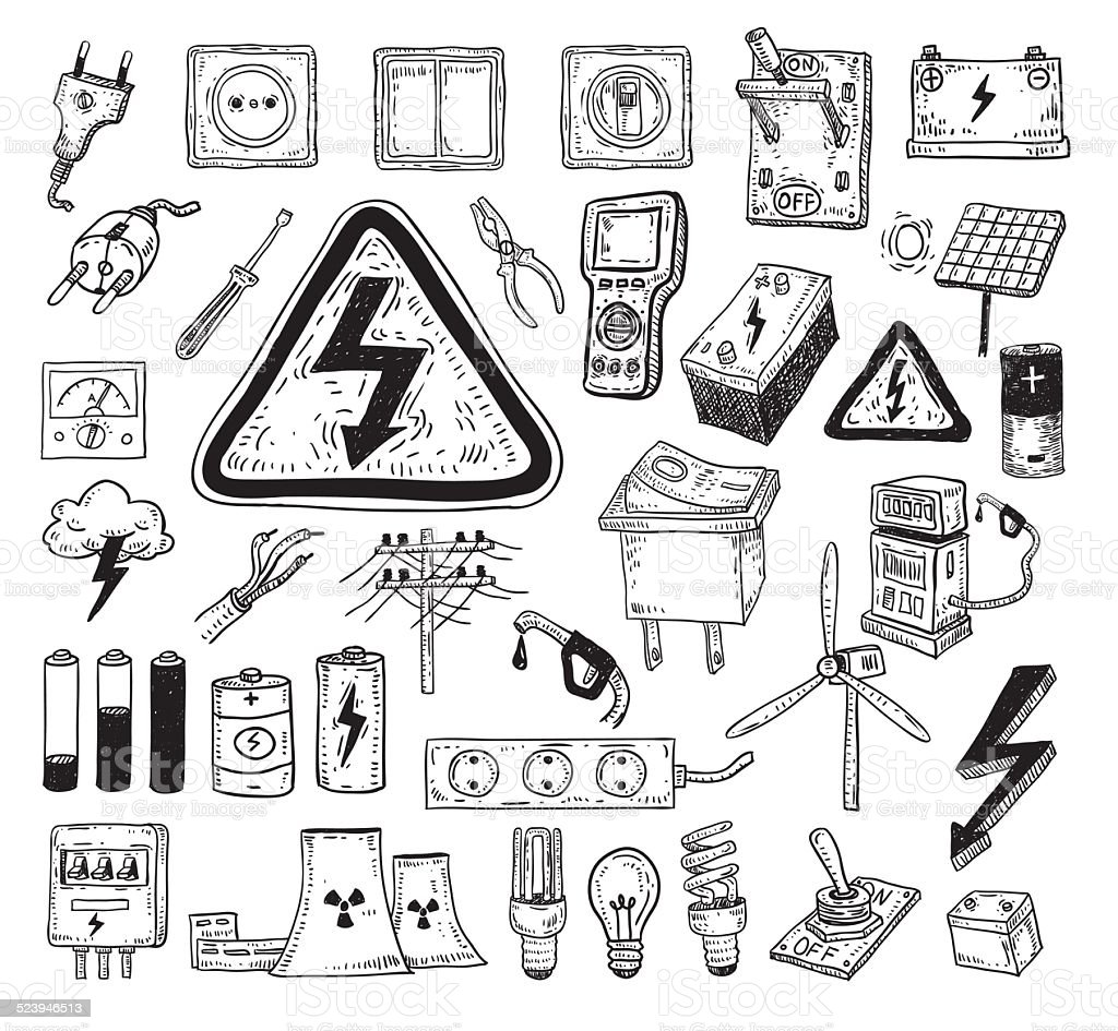 Electricity Doodle icon collection, vector illustration. vector art illustration