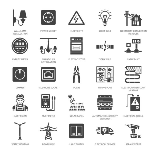 electricity engineering vector flat glyph icons. electrical equipment, power socket, torn wire, energy meter, lamp, wiring multimeter. electrician services signs. solid silhouette pixel perfect 64x64 - electrical wiring home stock illustrations, clip art, cartoons, & icons