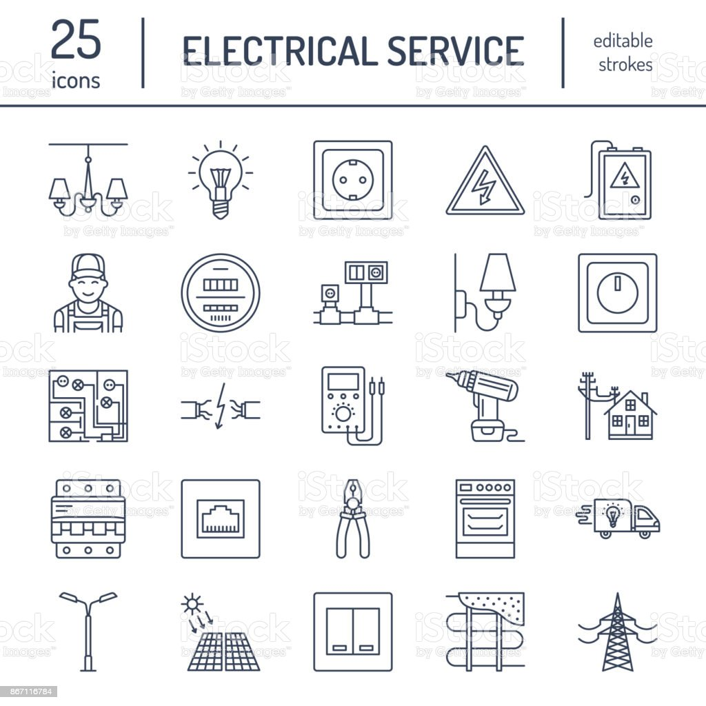 Electricity engineering vector flat line icons. Electrical equipment, power  socket, torn wire,