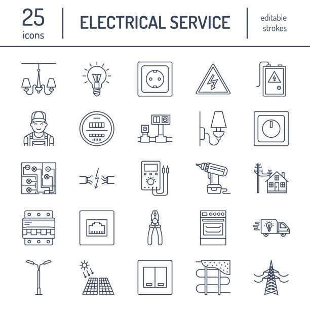 ilustraciones, imágenes clip art, dibujos animados e iconos de stock de electricidad ingeniería vector línea plana los iconos. equipo eléctrico, enchufe, rasgado de alambre, medidor de energía, lámpara, diseño de cableado, multímetro. electricista servicios muestras, ilustración de reparación casa - amperímetro