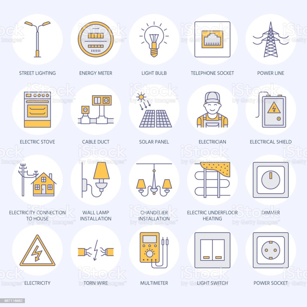 Electricity Engineering Vector Flat Line Icons Electrical Equipment Wiring A Electric Light Power Socket Torn Wire