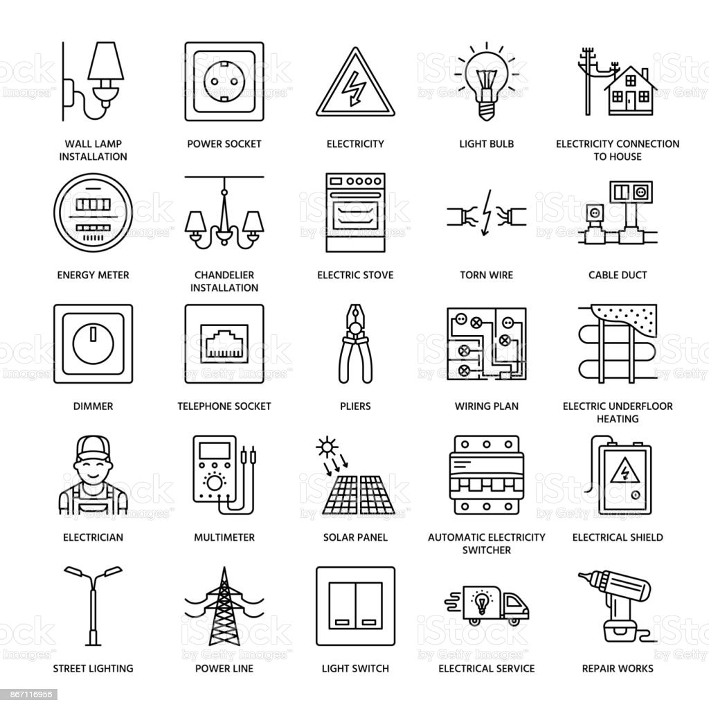 Electricity engineering vector flat line icons. Electrical equipment, power socket, torn wire, energy meter, lamp, wiring design, multimeter. Electrician services signs, house repair illustration vector art illustration