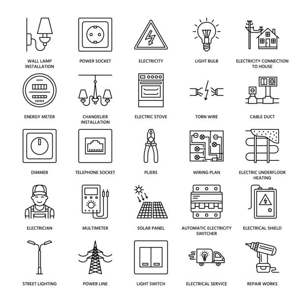 Electricity engineering vector flat line icons. Electrical equipment, power socket, torn wire, energy meter, lamp, wiring design, multimeter. Electrician services signs, house repair illustration Electricity engineering vector flat line icons. Electrical equipment, power socket, torn wire, energy meter, lamp, wiring design, multimeter. Electrician services signs, house repair illustration. electricity transformer stock illustrations