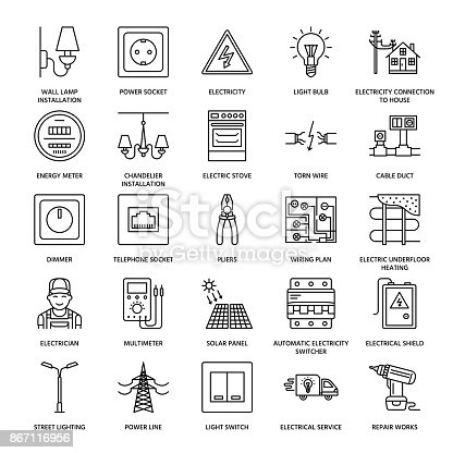 Electricity Engineering Vector Flat Line Icons Electrical