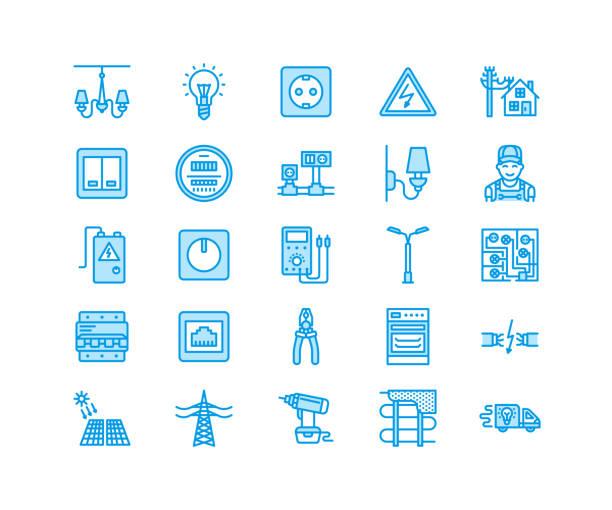 ilustraciones, imágenes clip art, dibujos animados e iconos de stock de electricidad ingeniería vector línea plana los iconos. equipo eléctrico, enchufe, rasgado de alambre, medidor de energía, lámpara, ilustración reparación servicios muestras casa de multímetro electricista. pixel perfecto 64 x 64 - amperímetro