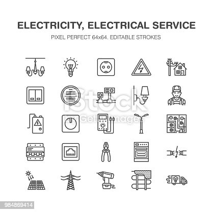 Electricity engineering vector flat line icons. Electrical equipment, power socket, torn wire, energy meter, lamp, multimeter Electrician services signs house repair illustration. Pixel perfect 64x64.