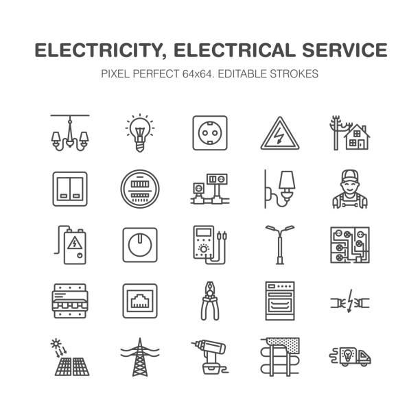 Electricidad ingeniería vector línea plana los iconos. Equipo eléctrico, enchufe, rasgado de alambre, medidor de energía, lámpara, Ilustración reparación servicios muestras casa de multímetro electricista. Pixel perfecto 64 x 64 - ilustración de arte vectorial