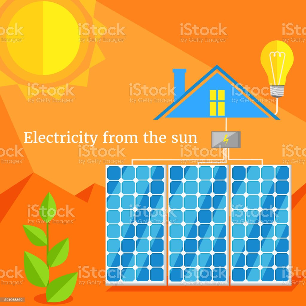Electricity From Sun Design Flat vector art illustration