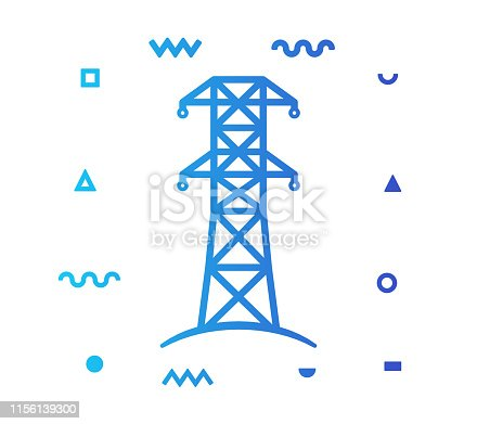 Electricity generation outline style icon design with decorations and gradient color. Line vector icon illustration for modern infographics, mobile designs and web banners.