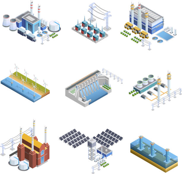 electricity generation plants isometric Isometric images set of different types of electricity generation plants from gas turbine to solar isolated vector illustration power station stock illustrations