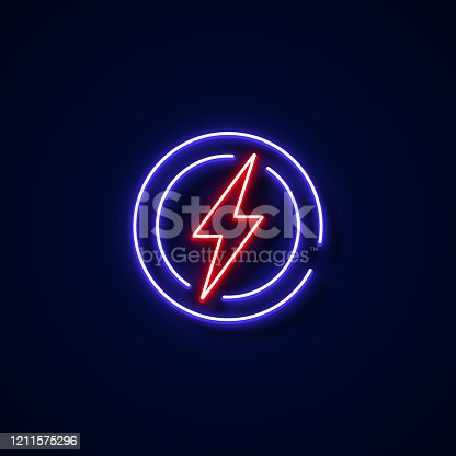 istock Electricity Icon Neon Style, Design Elements 1211575296