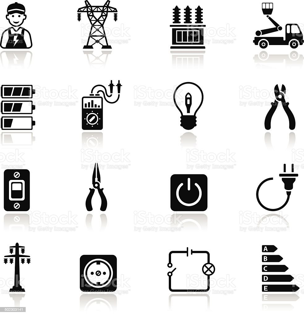 Electricity Icon Set vector art illustration