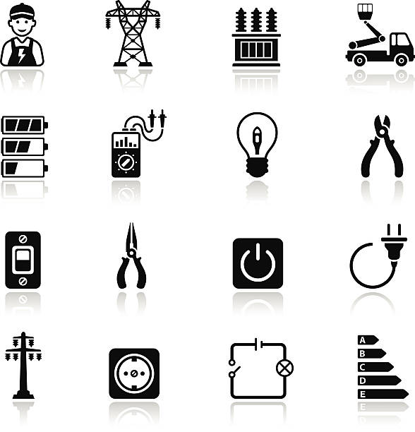 stockillustraties, clipart, cartoons en iconen met electricity icon set - hoogspanningstransformator
