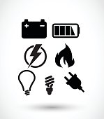 Electricity icon set vector illustration