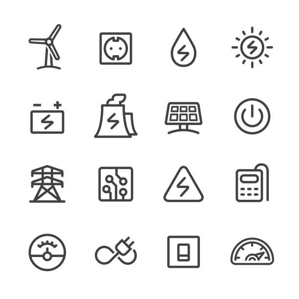 Electricity Icons - Line Series Electricity, electrical equipment, fuel and power generation, power station stock illustrations
