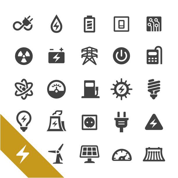 Iconos de electricidad - serie Select - ilustración de arte vectorial