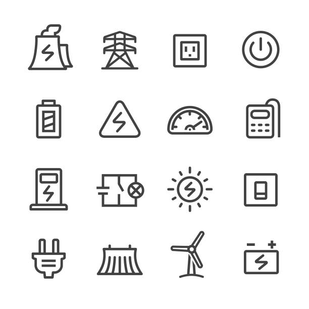 Electricity Icons Set - Line Series Electricity, Technology, transformer stock illustrations