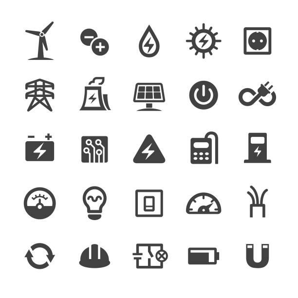 ilustraciones, imágenes clip art, dibujos animados e iconos de stock de iconos de electricidad - serie inteligente - amperímetro