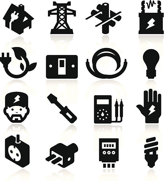 electricity icons - electrical wiring home stock illustrations, clip art, cartoons, & icons