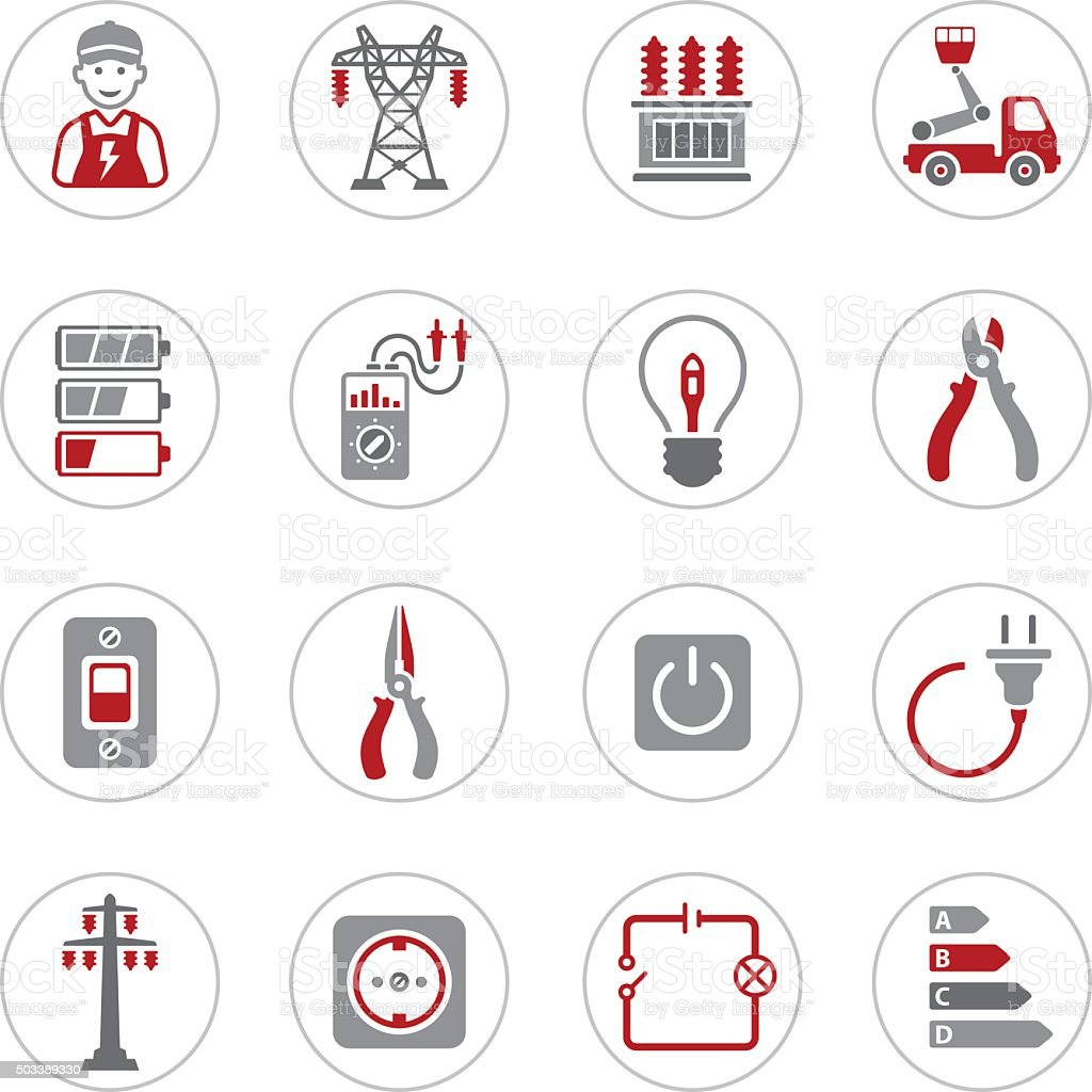 Electricity Icons vector art illustration