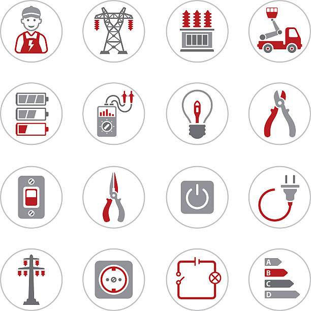 Electricity Icons High Resolution JPG,CS6 AI and Illustrator EPS 10 included. Each element is named,grouped and layered separately.  transformer stock illustrations
