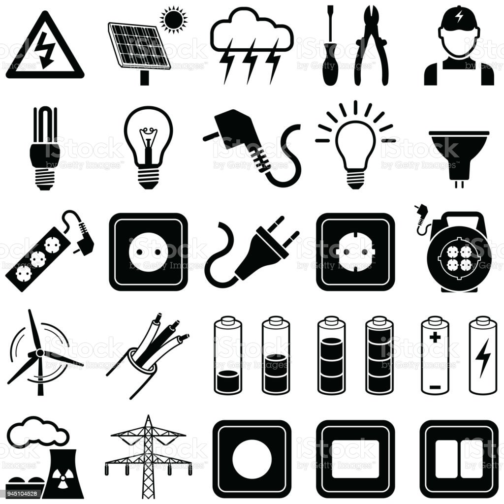 Electricity icons royalty-free electricity icons stock illustration - download image now